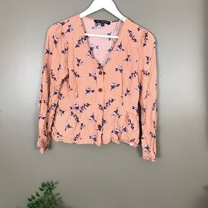 One Clothing Peach floral blouse